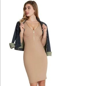 JADONNA ZIP-FRONT RIBBED DRESS